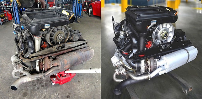 Comparrison of Porsche 3.3 litre engine before and after rebuild with restoration done by GP AutoWerks