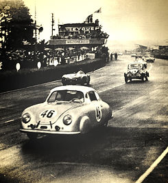 Porsche's first class win at Le Mans comes in 1951 with a 356. The winning car, #46, is seen in this photo.