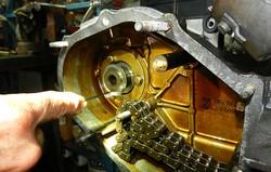 Porsche engine's stained interior walls