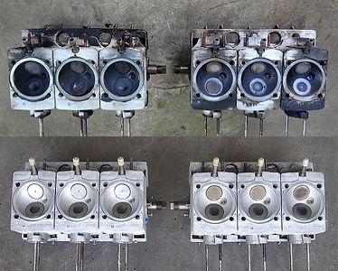 comparison of dirty and clean porsche engine heads in miami porsche shop of gp autowerks
