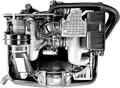 Looking down on Porsche 911 engine in George Perdomo's workshop