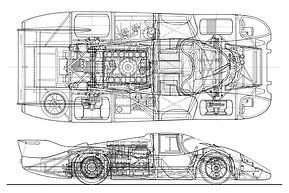 Porsche 917 Long Tail line drawing shows top and side views of this race car's internal components