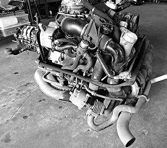 Porsche 930 Turbo engine under George Perdomo's authority for rebuild.