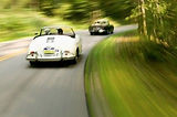 miami-owned porsche 356 driving with top down on tree lined road