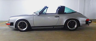 Profile of silver Porsche Targa after completition of body work showing door nicely painted and correctly installed