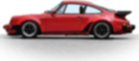 Profile view of red Porsche 930 with rake ajusted 2 degrees for better handling