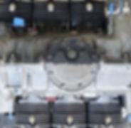 Porsche engine showing half blasted clean and half dirty