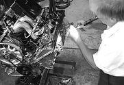 george perdomo installing engine tin on porsche 3.2 ltr engine during reseal