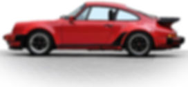 A red Porsche 930 is seen showing a stock ride height and rake. What is clear is the car sitting nearly level to the ground front to back.