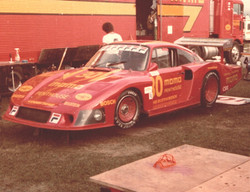 Historical photo: red porsche 935 that george perdomo served as a technical consultant for in 1983