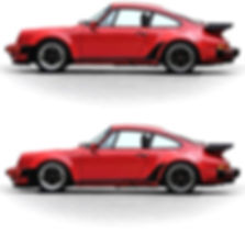 The same red Porsche is now seen after having been lowered and raked 2 degrees. This is an excellent comparison looking at the same red Porsche 930. The lowered and raked version will handle noticeably better that its stock iteration.