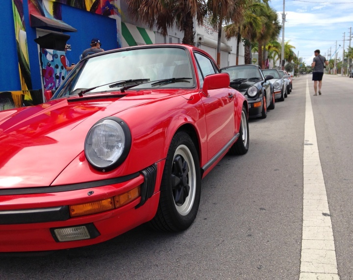 Miami Porsche specialist George Perdomo meets with fellow Porsche owners at Panther Coffee in Wynwoo