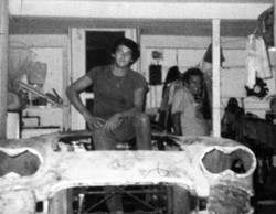 Histrorical photo: george perdomo on father and son chevy project with father to his left in 1975