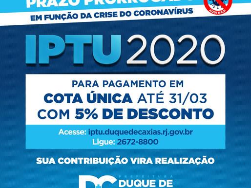 Caxias prorroga prazo para pagamento de IPTU