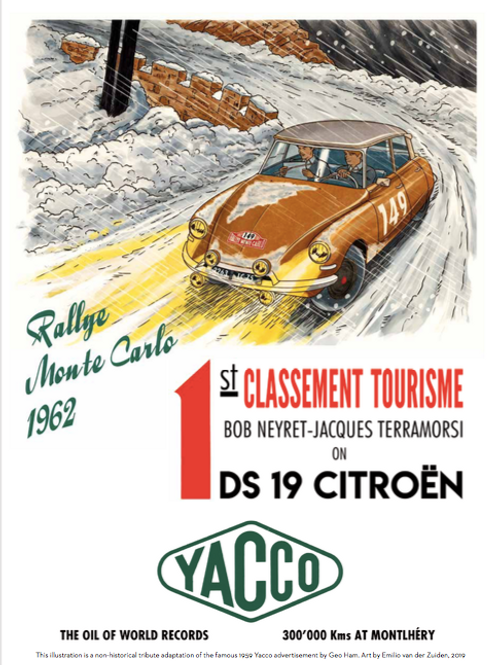 "Affiche/Poster Cover Citroen DS/YACCO- ""Paire d'As pour une DS"" A3"