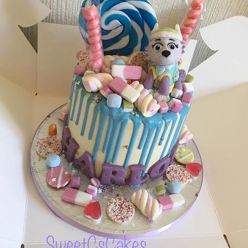 Paw patrol Everest sweetie drip cake xx