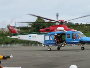 防災ヘリ バゲットの訓練
