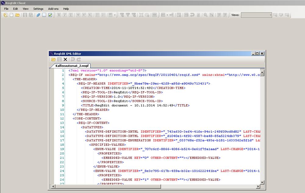Integrierter XML-Editor