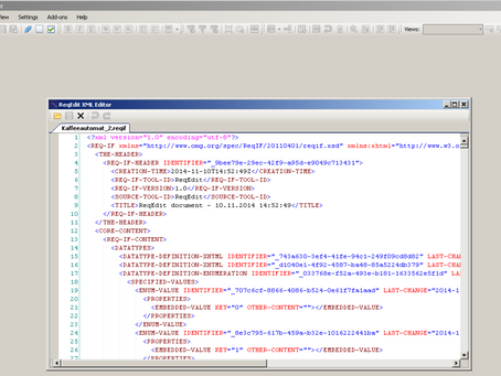 ReqEdit Release 2.14 with an integrated XML editor on September 4th, 2017