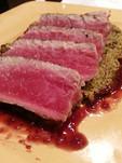 Ahi tuna with brocolli almond puree