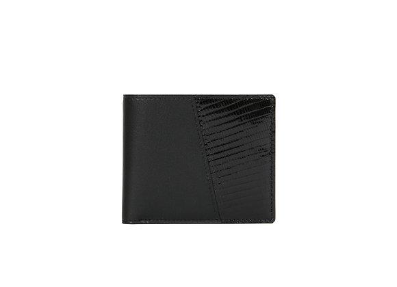 Portefeuille Homme Bonsavoir Paris - Cuir Noir et exotique Lézard véritable Noir - Petite-Maroquinerie Luxe Made in France