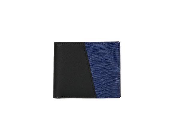 Portefeuille Homme Bonsavoir Paris - Cuir Noir et exotique Lézard véritable Bleu - Petite-Maroquinerie Luxe Made in France