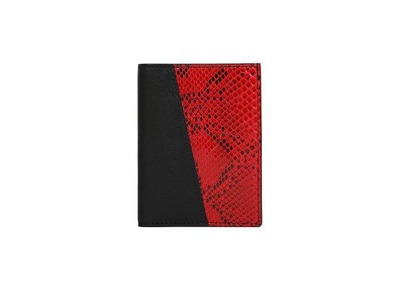 Portefeuille Homme Bonsavoir Paris - Cuir Noir et exotique Python véritable Rouge - Petite-Maroquinerie Luxe Made in France