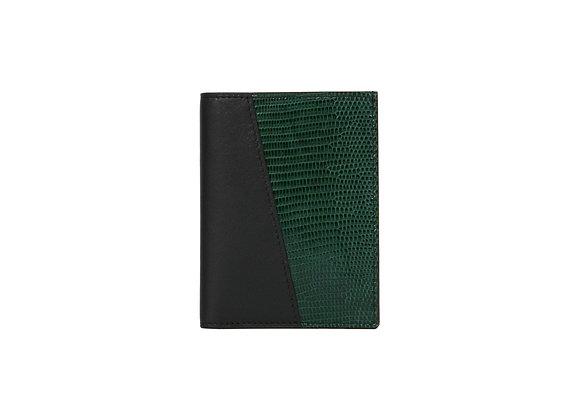 Portefeuille Homme Bonsavoir Paris - Cuir Noir et exotique Lézard véritable Vert - Petite-Maroquinerie Luxe Made in France