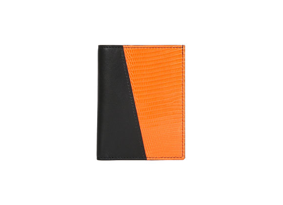 Portefeuille Homme Bonsavoir Paris - Cuir Noir et exotique Lézard véritable Orange - Petite-Maroquinerie Luxe Made in France