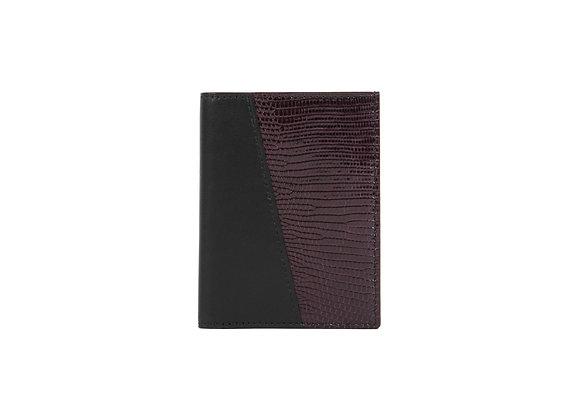 Portefeuille Homme Bonsavoir Paris - Cuir Noir et exotique Lézard véritable Violet - Petite-Maroquinerie Luxe Made in France