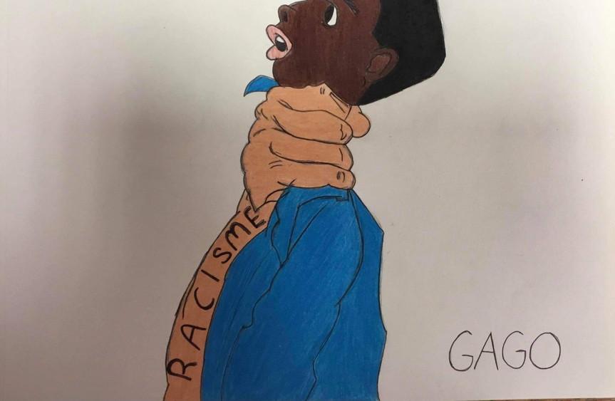 Caricature dénonçant le racisme - par Ophélie Gagnon