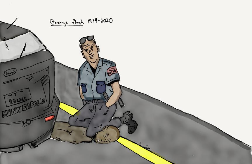 Caricature de l'arrestation de George Floyd - par Louis-Thomas Grenier