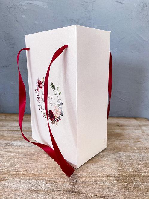 Wedding Bag con stampa personalizzata in carta avorio perlata tema floreale