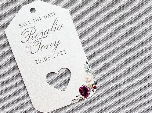 Tag con nomi e data con cuore forato tema floreale in carta avorio perlata