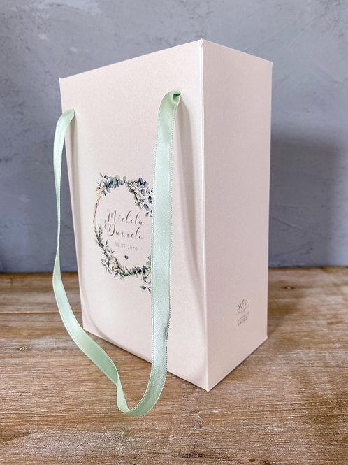 Wedding Bag con stampa personalizzata in carta avorio perlata, tema eucalipto