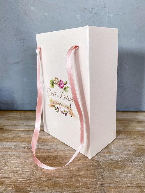 Wedding Bag con stampa personalizzata in carta avorio perlata, tema floreale