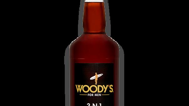 WOODY'S 3-N-1 SHAMPOO, CONDITIONER, BODY WASH