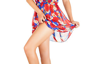 Blue and red floral dress blowing up.jpe