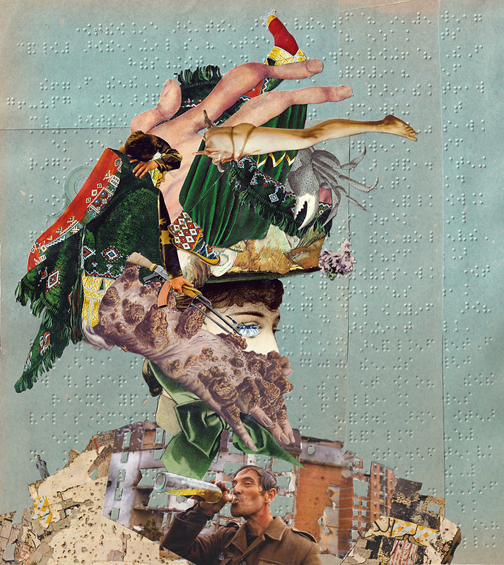 Feathery Hat_hand cut collage glued on p
