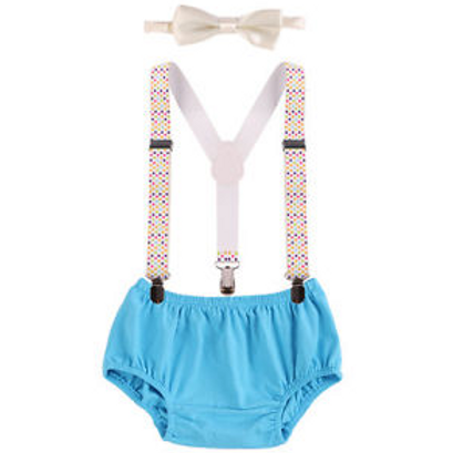 Boys Cake Smash Bloomer Suspenders Bowtie Outfit