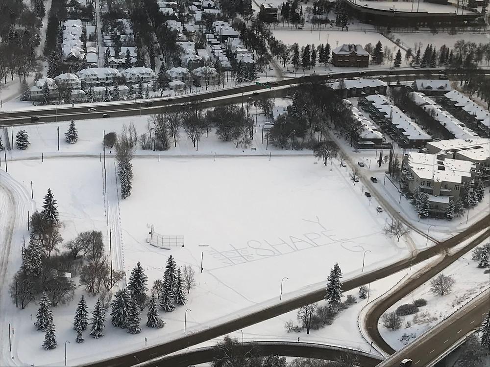 Shape Edmonton Global Shapers Write #SHAPEYEG in thesnow