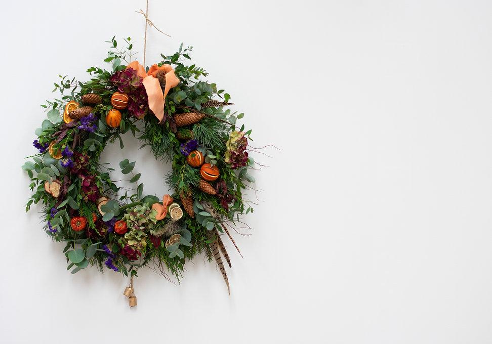 fresh foliage door wreath