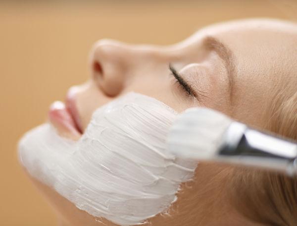 Spa facial mask application. Spa beauty