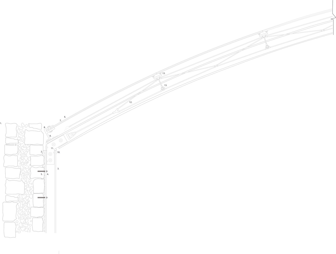 1:5 Existing wall, to Steel Column to Tensile Cable Net Structure
