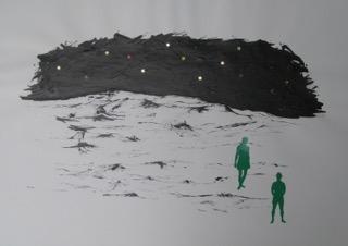 P.Fleischer-Harkort, o.T.-4, 50 x 70 cm, Tusche und Aufkleber auf Papier, 2010