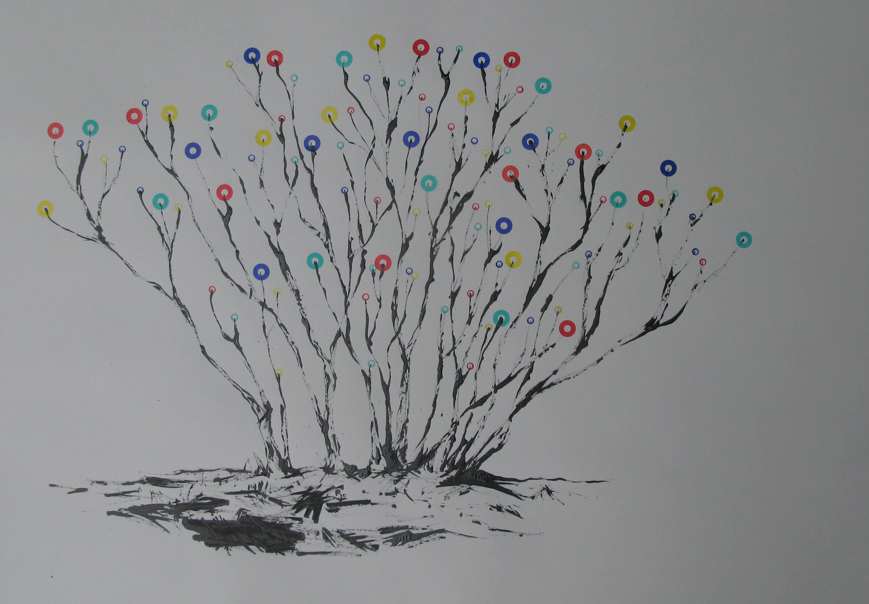 o.T., 50 x 70 cm, Tusche und Aufkleber auf Papier, 2010