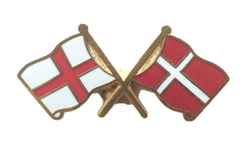 The Cross Of St George and the Cross Banner of Danish Kings in enamel on a friendship lapel pin