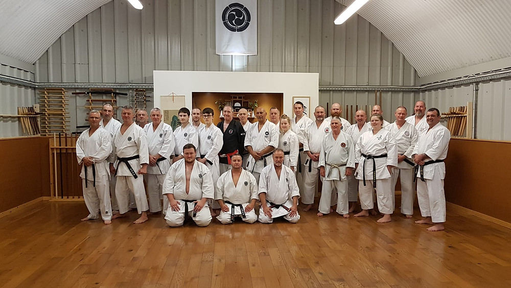 Sensei Lowe kneeling front and centre