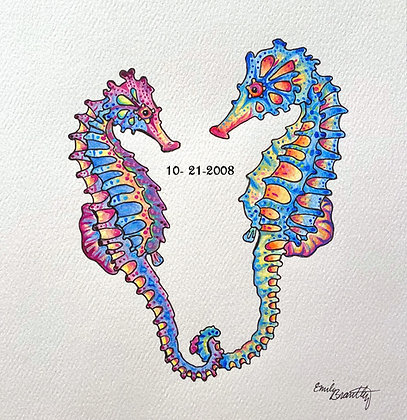Custom Seahorse Heart Painting