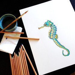 Seahorse Watercolor Painting